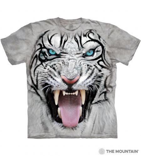 Big Face Tribal White Tiger T-shirt | The Mountain®